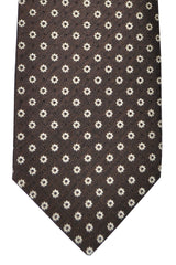Luigi Borrelli Tie Brown Silver Floral Design