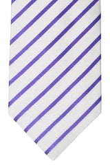 Luigi Borrelli Sevenfold Tie ROYAL COLLECTION White Purple Stripes