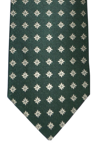 Luigi Borrelli Tie Dark Green Silver Geometric Flowers