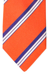 Borrelli Sevenfold Tie ROYAL COLLECTION Orange Purple Stripes