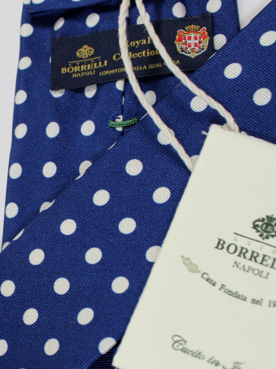 Luigi Borrelli Sevenfold Tie ROYAL COLLECTION Navy White Polka Dots