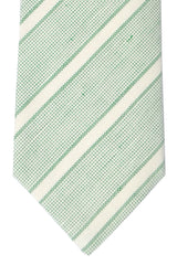 Luigi Borrelli Sevenfold Tie ROYAL COLLECTION Green White Stripes