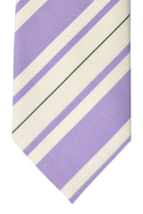 Luigi Borrelli Sevenfold Tie ROYAL COLLECTION Lilac White Silver Green Stripes