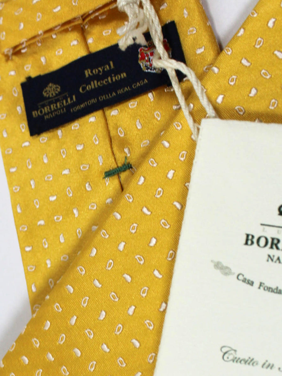 Luigi Borrelli Sevenfold Tie ROYAL COLLECTION Yellow Silver Geometric