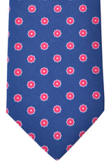 Luigi Borrelli Sevenfold Tie ROYAL COLLECTION Navy Pink Geometric