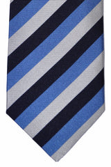 Luigi Borrelli Sevenfold Tie ROYAL COLLECTION Navy Blue Gray Silver Stripes