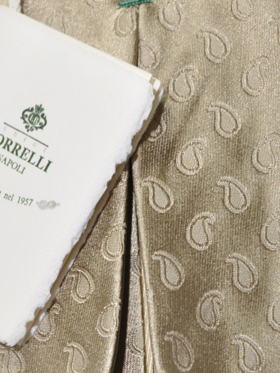Luigi Borrelli Sevenfold Tie ROYAL COLLECTION Taupe Paisley