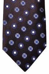 Luigi Borrelli Tie Brown Purple Silver Geometric
