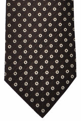 Luigi Borrelli Tie Brown Silver Geometric