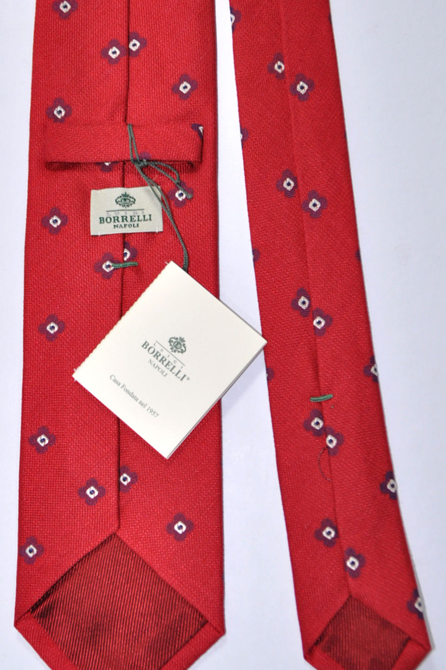 Luigi Borrelli Tie Red Navy Gold Cream Geometric