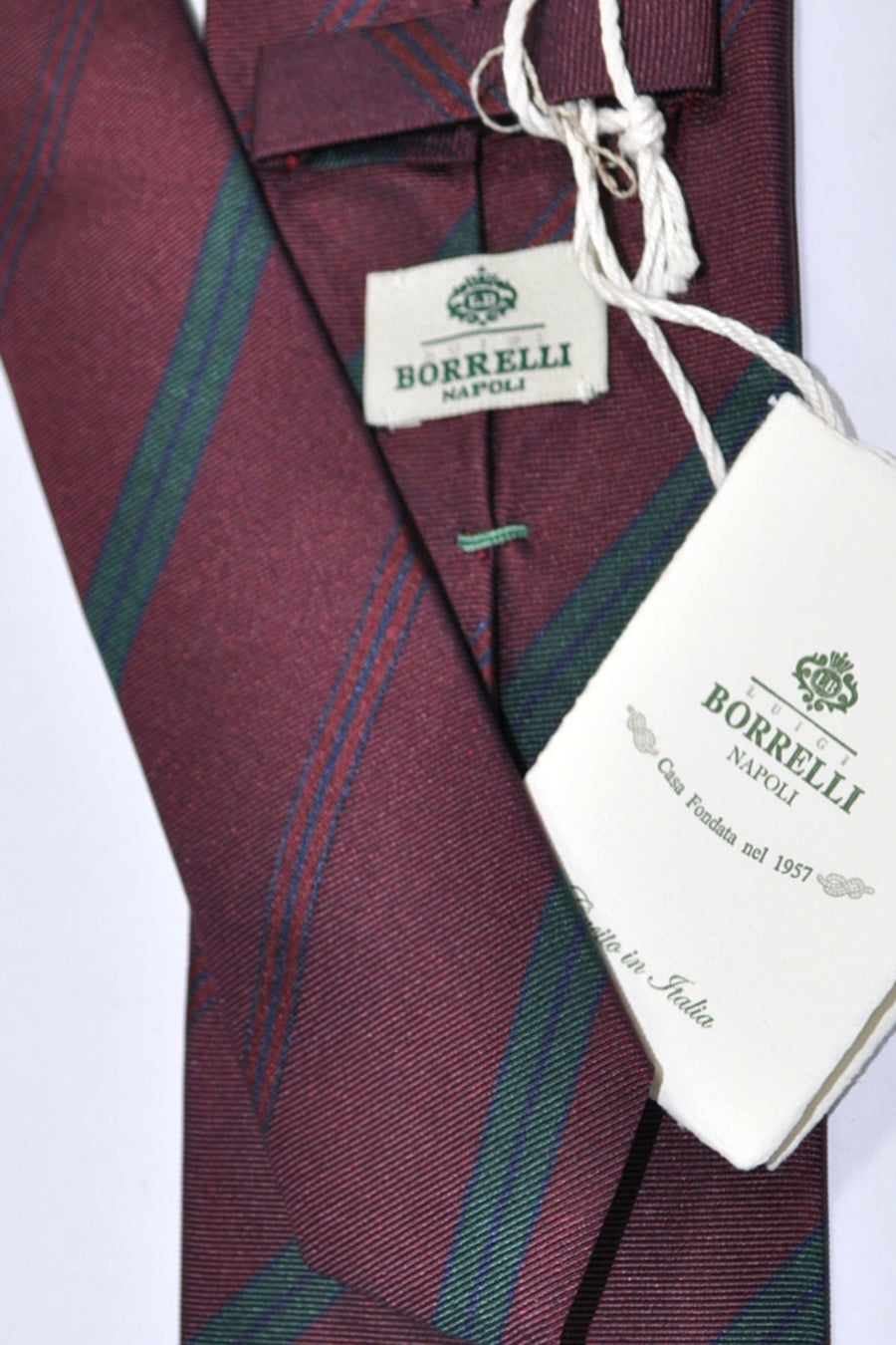 Luigi Borrelli Tie Wine Purple Green Navy Stripes