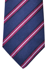 Luigi Borrelli Tie Navy Purple Silver Stripes