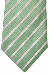 Luigi Borrelli Tie Green Pink Stripes
