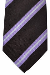 Luigi Borrelli Tie Brown Lilac Silver Stripes