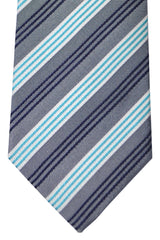 Luigi Borrelli Tie Gray Aqua Stripes