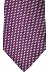 Luigi Borrelli Tie Purple Silver Mini Houndstooth