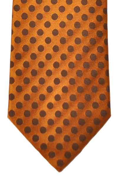 Luigi Borrelli Tie Copper Brown Polka Dots