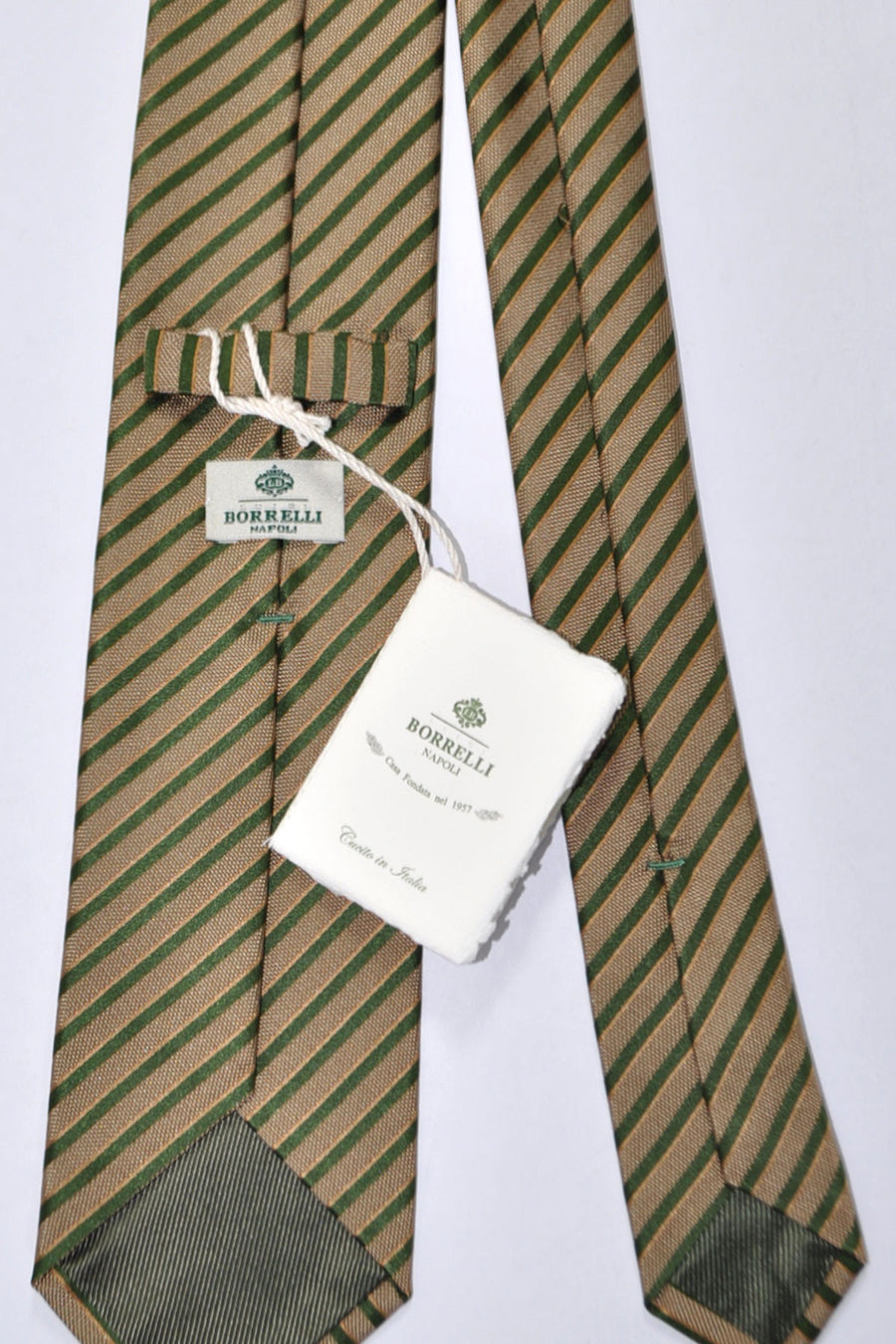 Luigi Borrelli Tie Green Light Brown Stripes