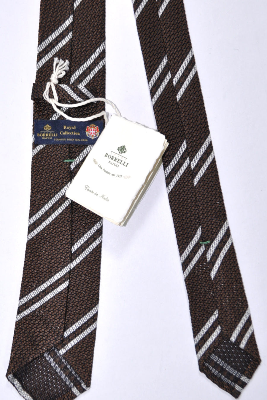 Luigi Borrelli Narrow Sevenfold Tie ROYAL COLLECTION Brown Silver Stripes