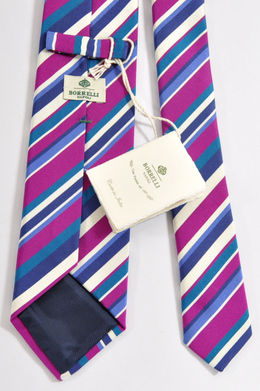 Luigi Borrelli Silk Tie Purple Fuchsia Taupe Stripes