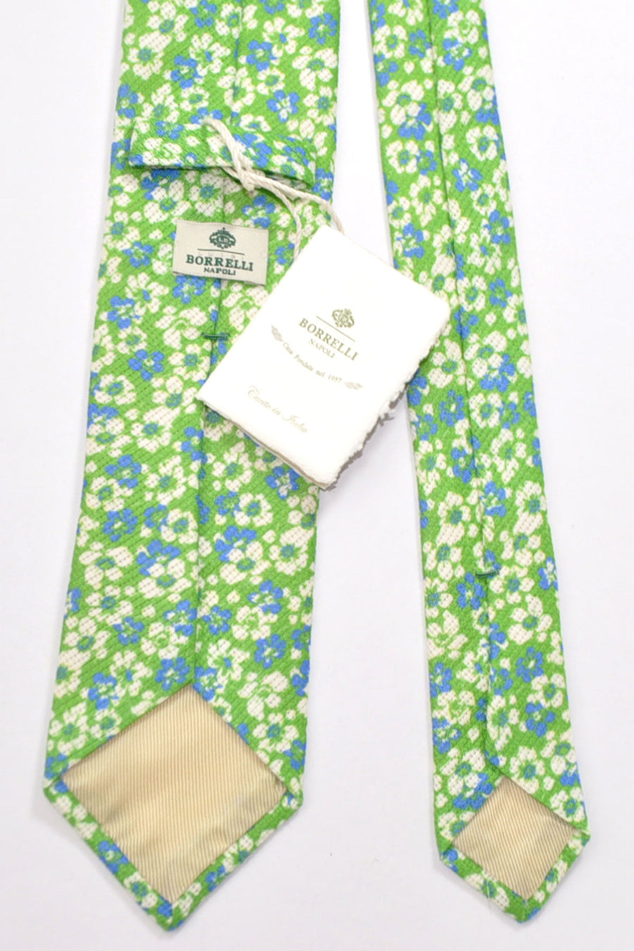 Borrelli Tie Lime Navy White Floral Linen Cotton SALE