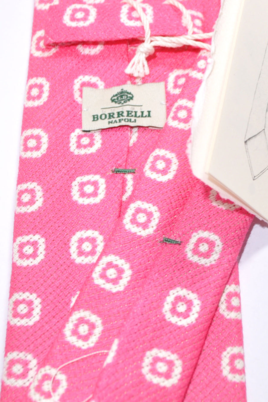 Luigi Borrelli Tie Hot Pink White Geometric Silk