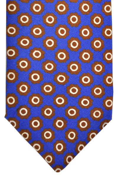 Luigi Borrelli Tie Royal Blue Brown White Geometric Silk