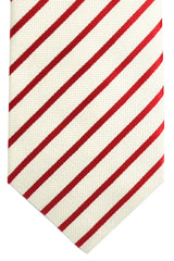 Luigi Borrelli Tie White Red Stripes