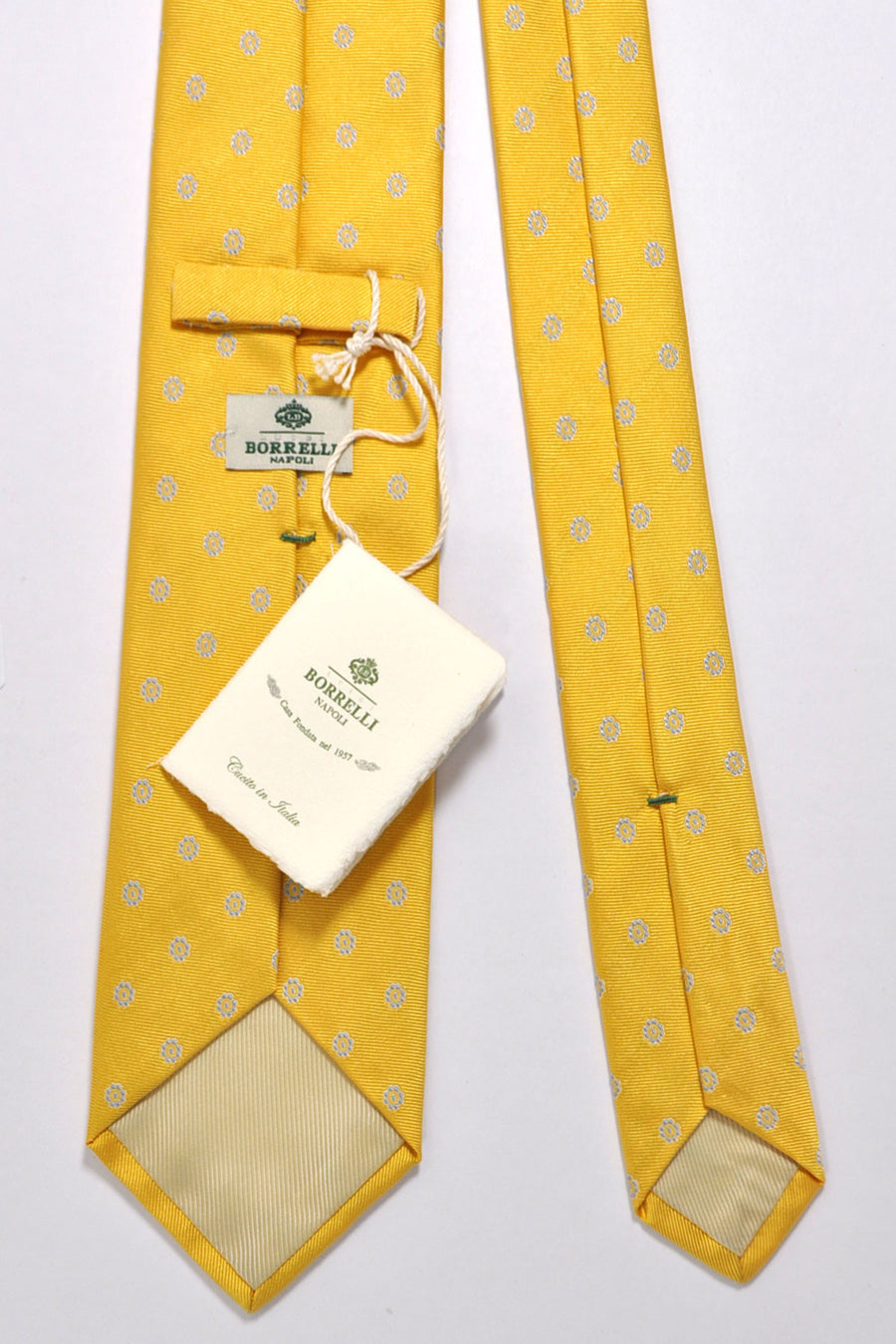 Luigi Borrelli Silk Tie Yellow Sky Blue Geometric Grosgrain