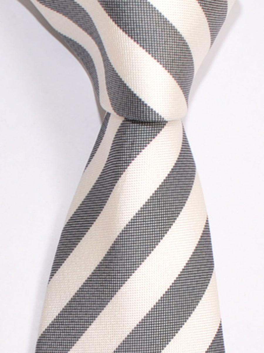 Luigi Borrelli Tie Black White Stripes FINAL SALE
