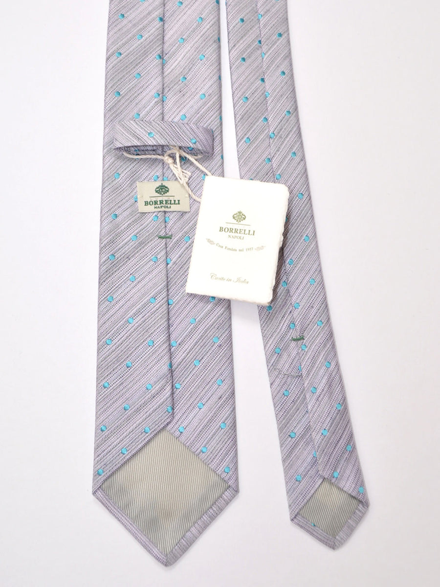 Luigi Borrelli Tie Lilac Sky Blue Dots FINAL SALE