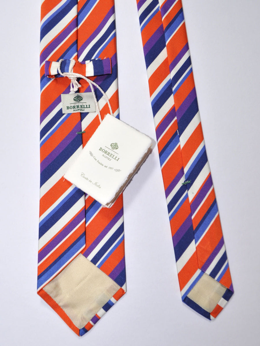 Luigi Borrelli Silk Tie Orange White Navy Purple Stripes