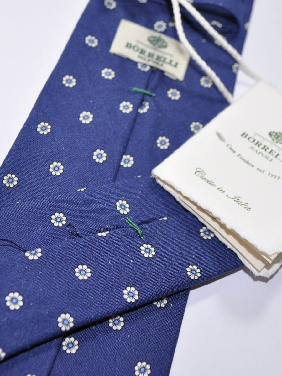 Luigi Borrelli Silk Tie Navy Cream Floral Design