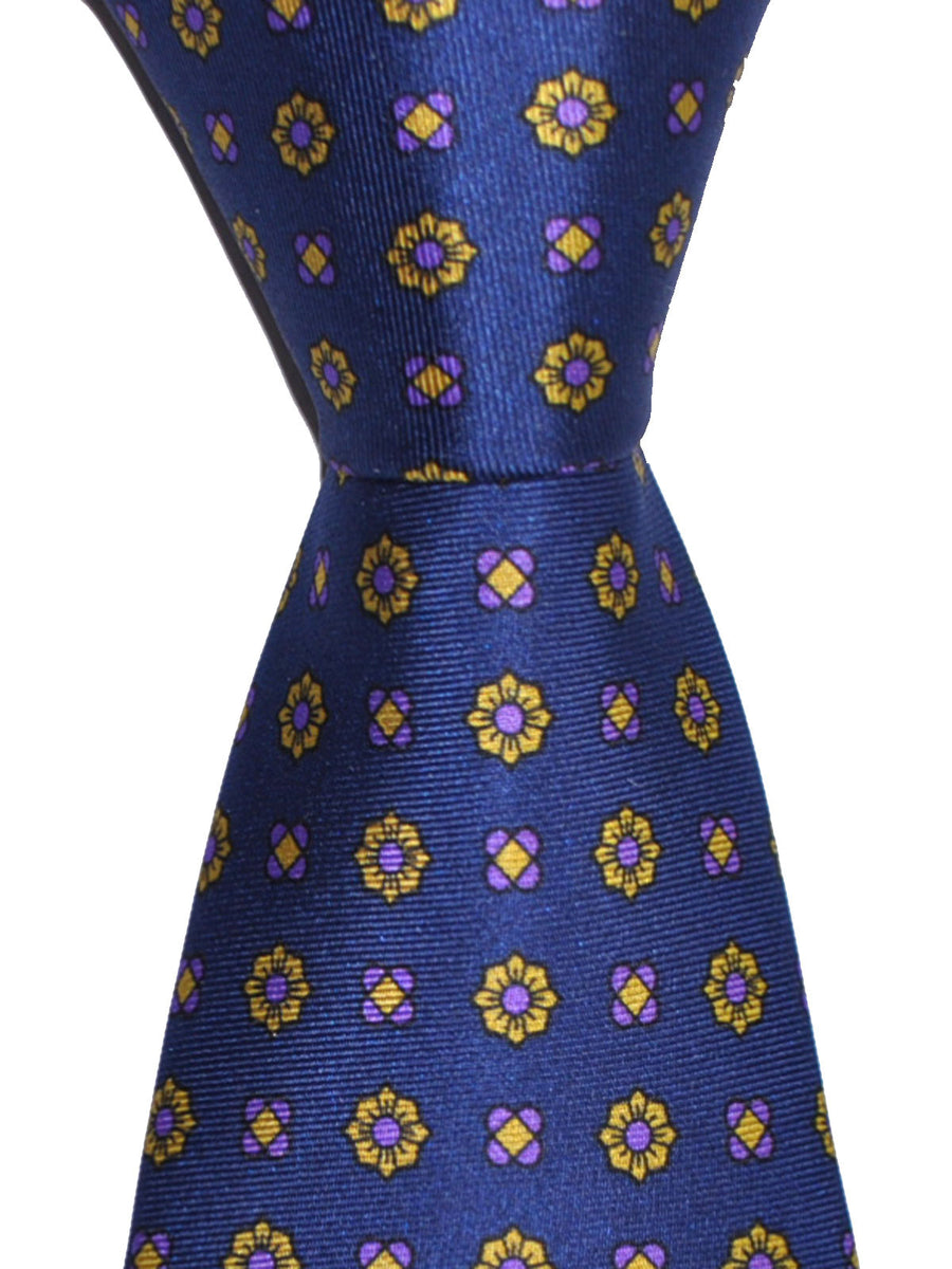 Luigi Borrelli Silk Tie Navy Mustard Purple Floral Design