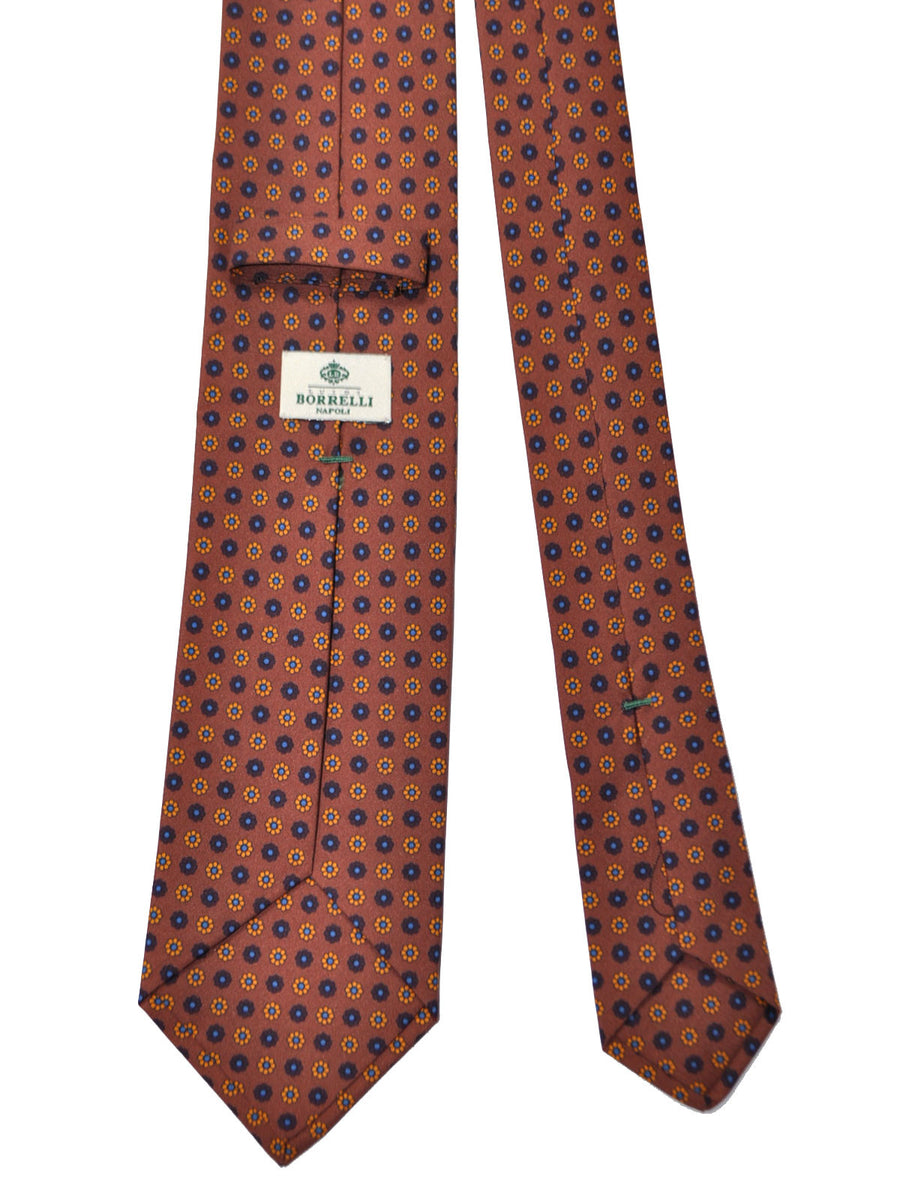 Luigi Borrelli Silk Tie Brown Floral Design