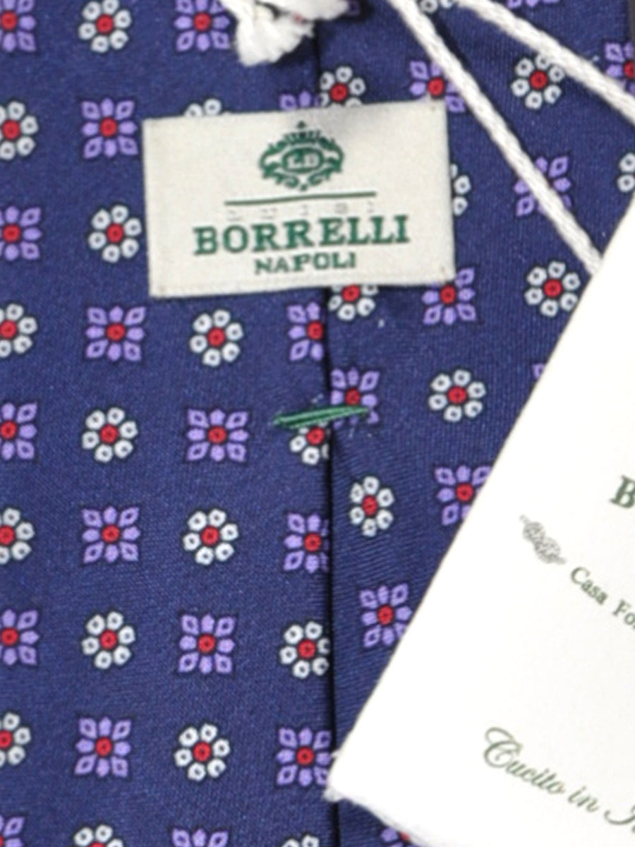 Luigi Borrelli Silk Tie Navy Purple Red Floral Design