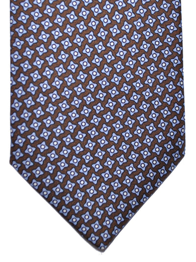 Luigi Borrelli Silk Tie Brown Blue Geometric Design