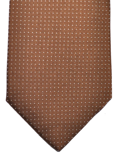 Luigi Borrelli Silk Tie Brown Silver Dots