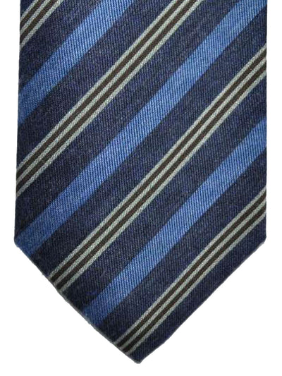 Luigi Borrelli Tie Navy Blue Brown Stripes