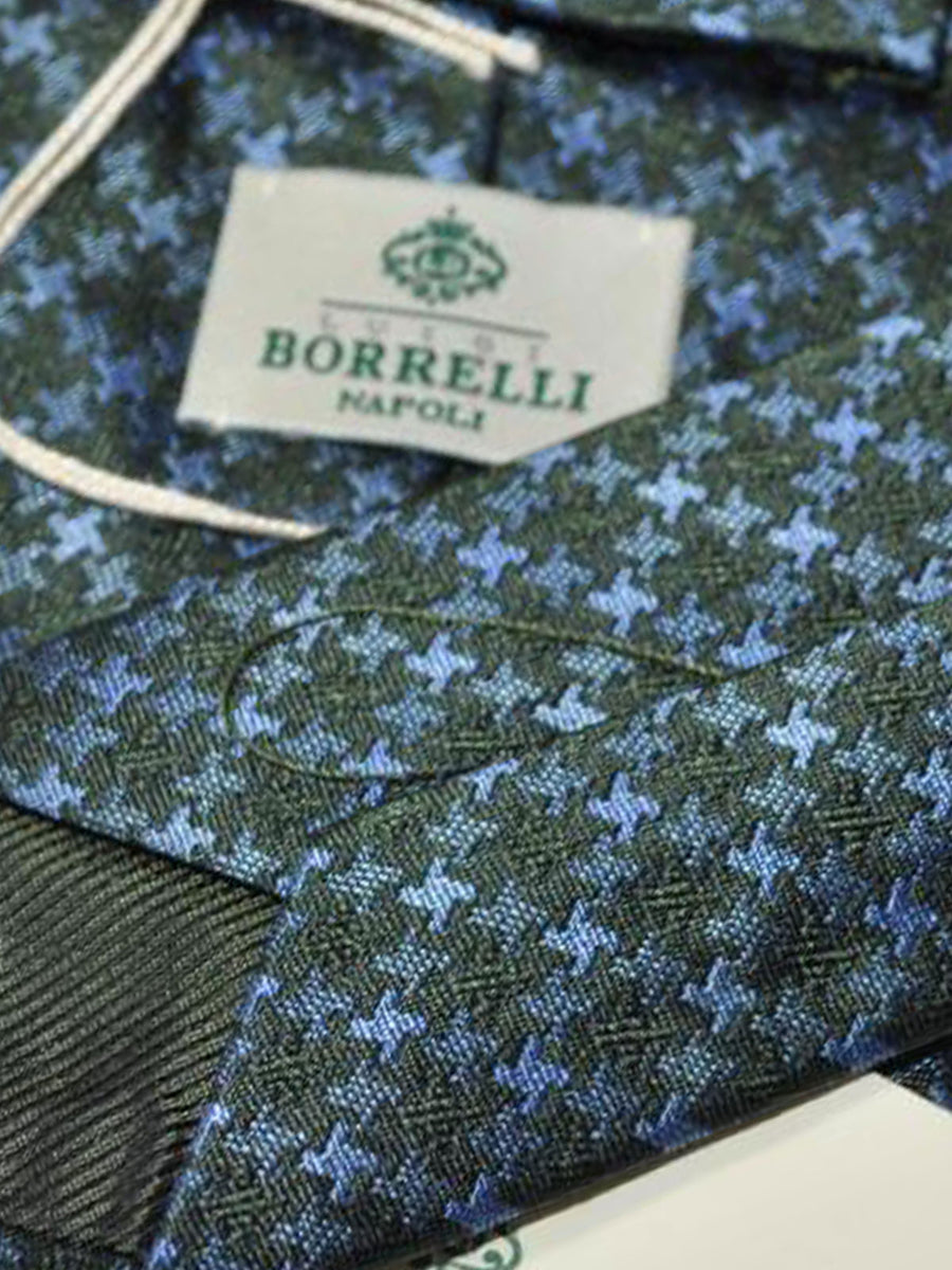 Luigi Borrelli Tie Green Blue Houndstooth SALE