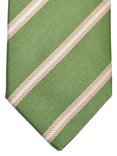 Luigi Borrelli Tie Green Gold White Stripes