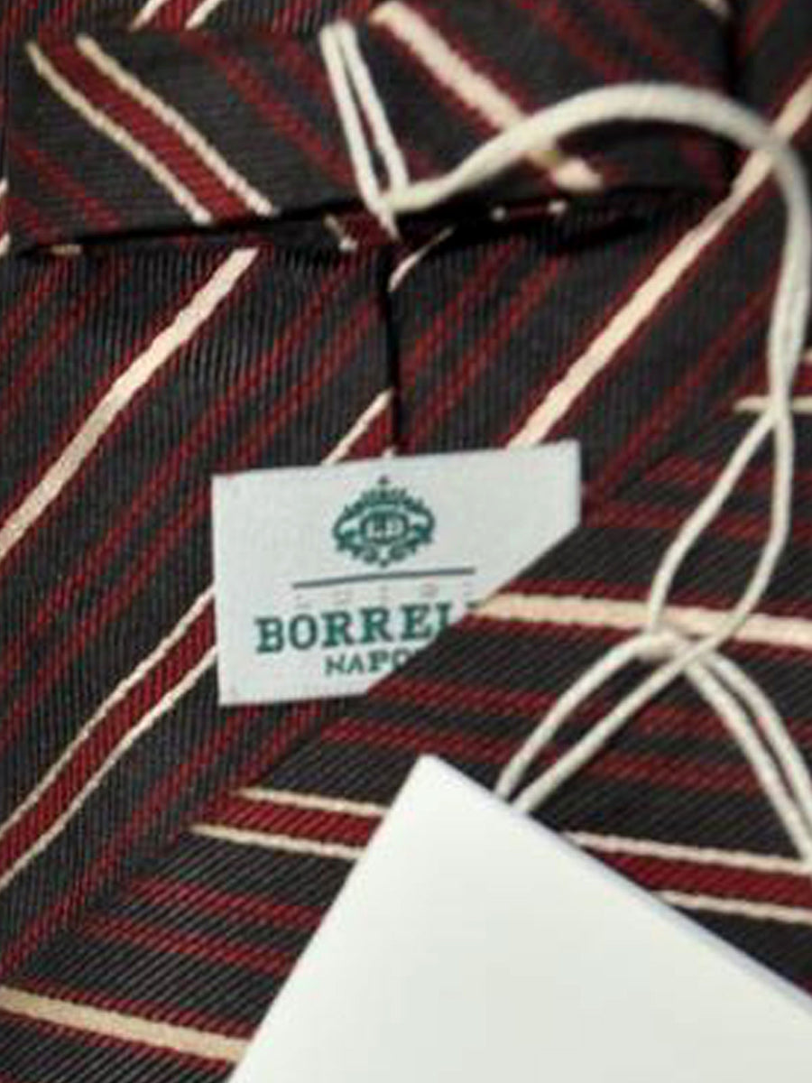 Luigi Borrelli Tie Brown Burgundy Stripes