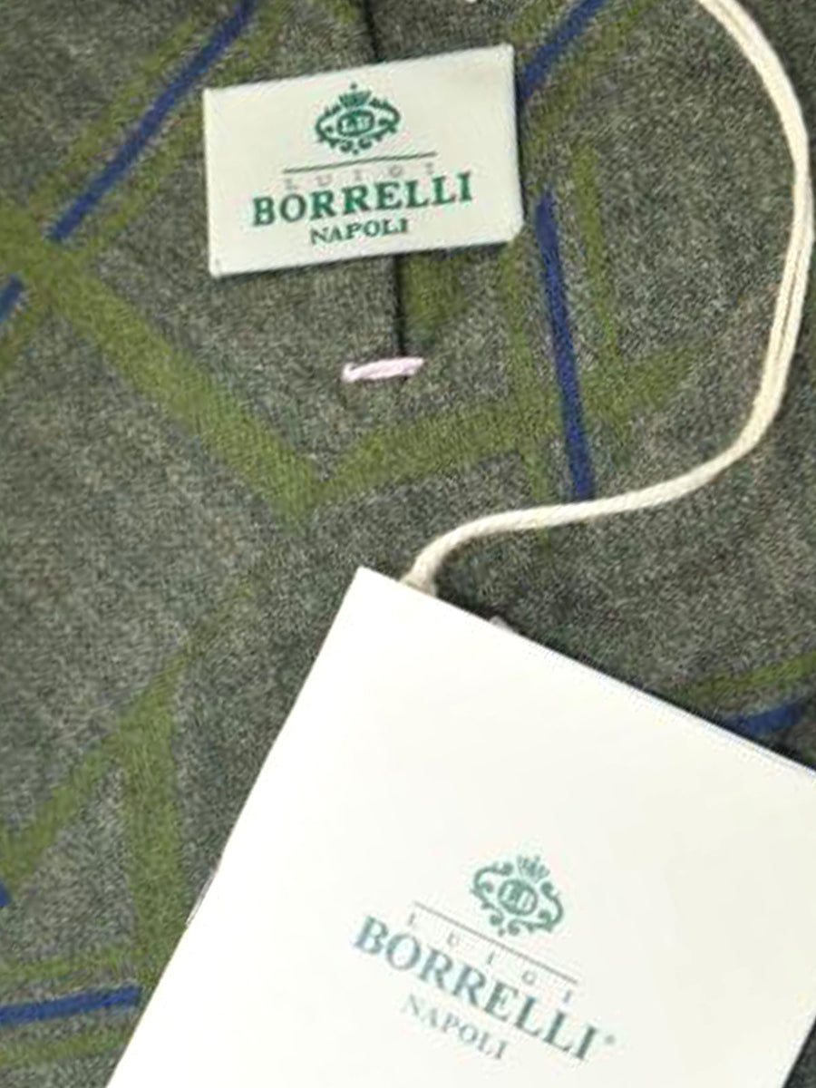 Luigi Borrelli Tie Gray Green Navy Stripes