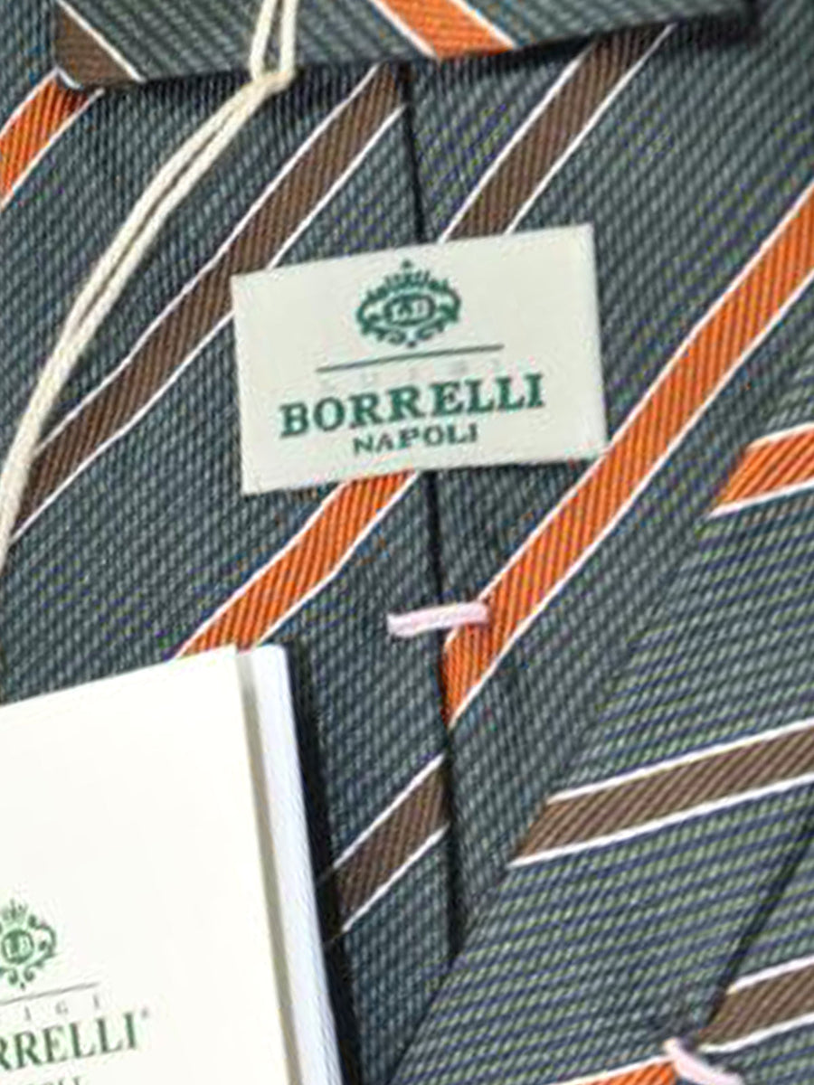 Luigi Borrelli Tie Gray Brown Stripes
