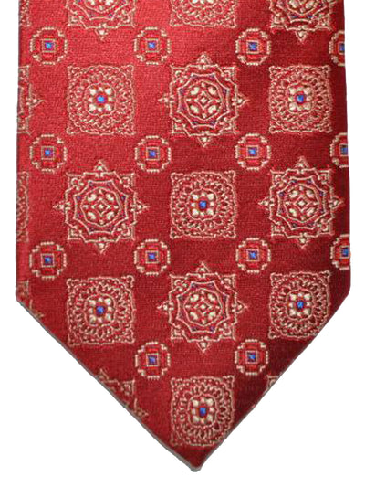 Luigi Borrelli Tie Red Gold Royal Medallion Design