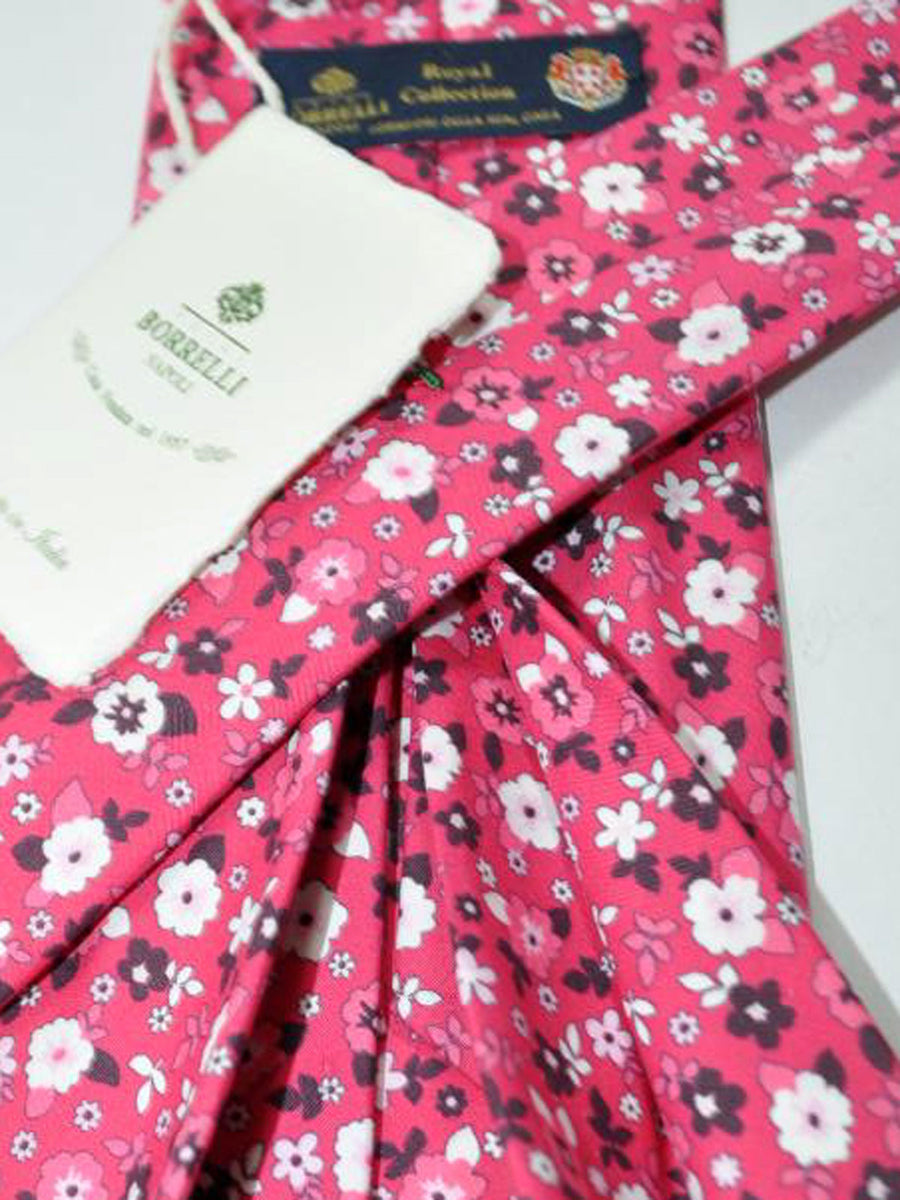 Luigi Borrelli 11 Fold Tie ROYAL COLLECTION Pink Floral Design Cotton