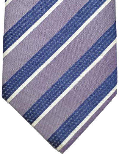 Luigi Borrelli 11 Fold Tie ROYAL COLLECTION Purple Navy Silver Stripes Design Linen Silk