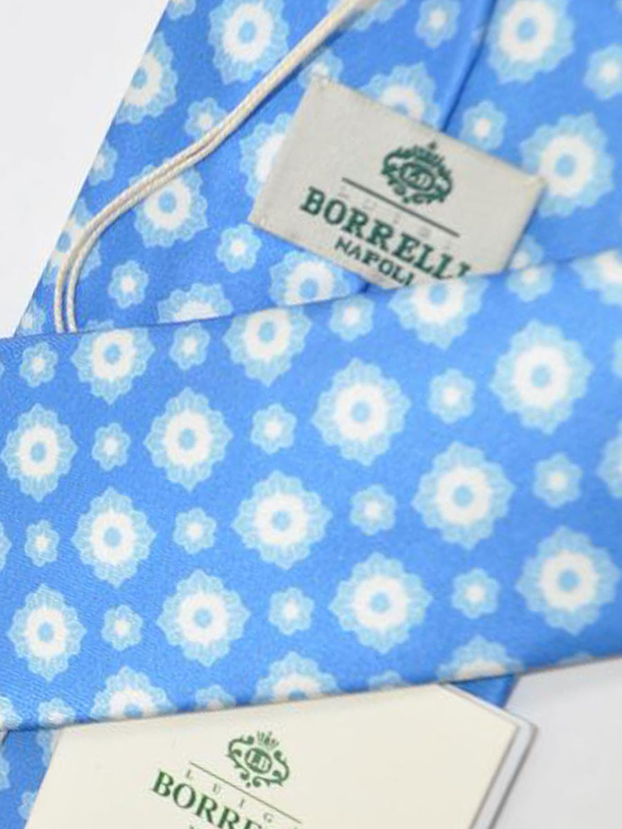 Luigi Borrelli Tie Blue White Medallion Silk Necktie