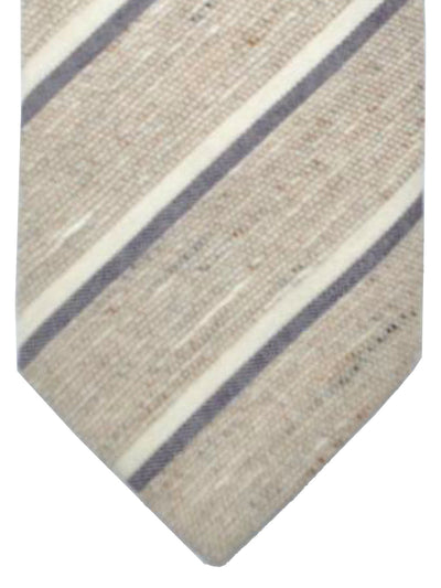 Luigi Borrelli Tie Brown Gray White Stripes Silk Necktie