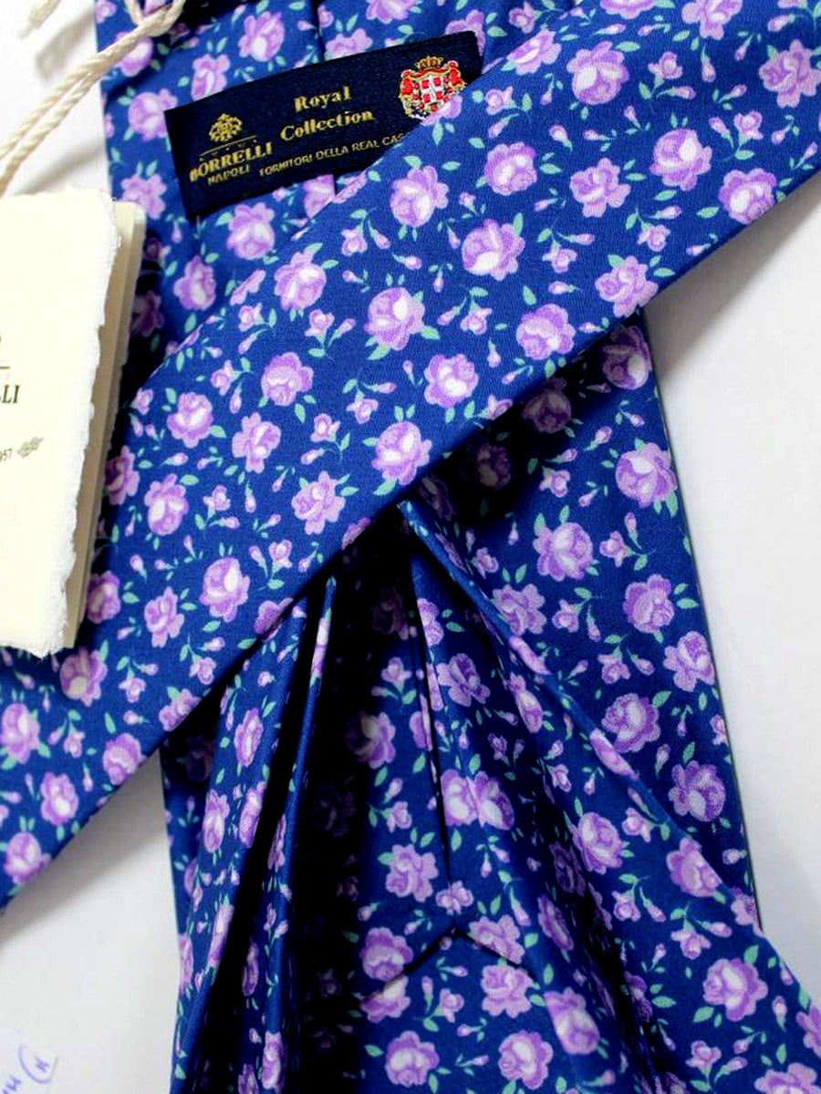 Luigi Borrelli 11 Fold Tie ROYAL COLLECTION Navy Purple Floral Design